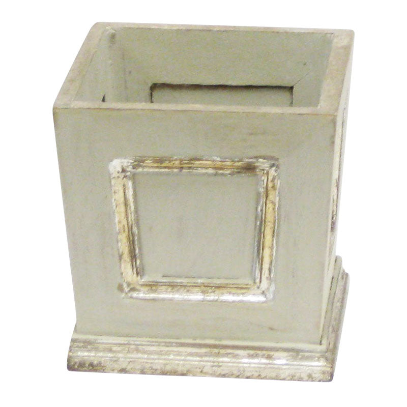 Wooden Mini Square Planter w/ Inset - Antique Gray w/ Silver
