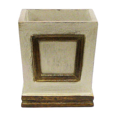 Load image into Gallery viewer, [WMSPI-PD-ORYE] Wooden Small Square Container w/Inset Patina Distressed w/Bronze - White & Yellow Orchid Artificial