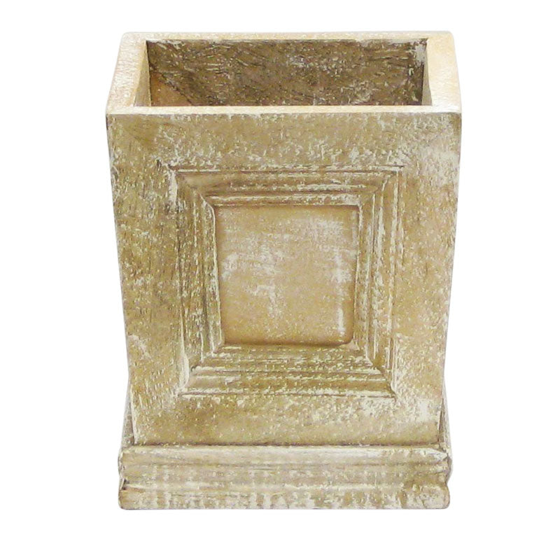 Wooden Mini Square Planter w/ Inset - Weathered Antique