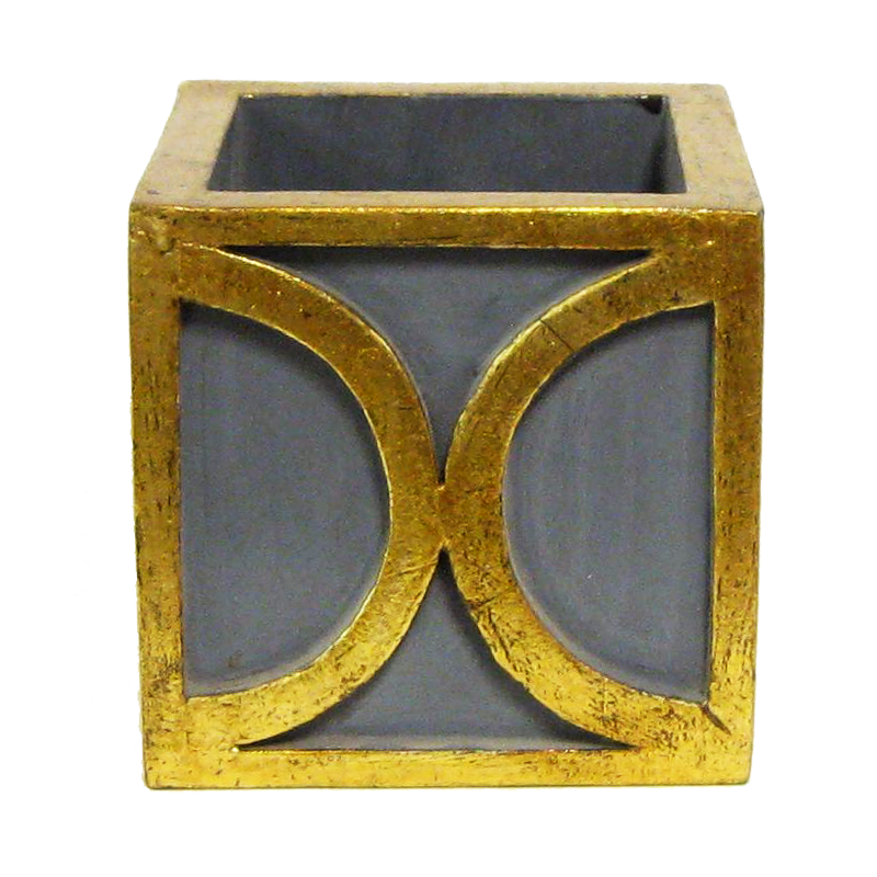 Wooden Mini Square Container w/ Half Circle - Dark Blue Grey w/ Antique Gold