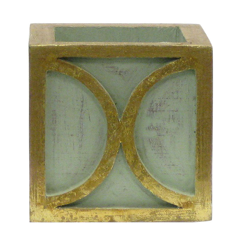 Wooden Mini Square Container w/ Half Circle - Green w/ Antique Gold