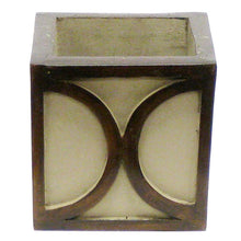 Load image into Gallery viewer, [WMSPO-PD-ORGR2] Wooden Mini Square Container w/ Half Circle - Patina Distressed w/ Antique Bronze - White & Green Two Spike Orchid Artificial