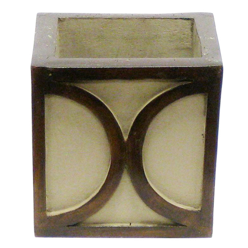 Wooden Mini Square Container w/ Half Circle - Patina Distressed w/ Antique Bronze
