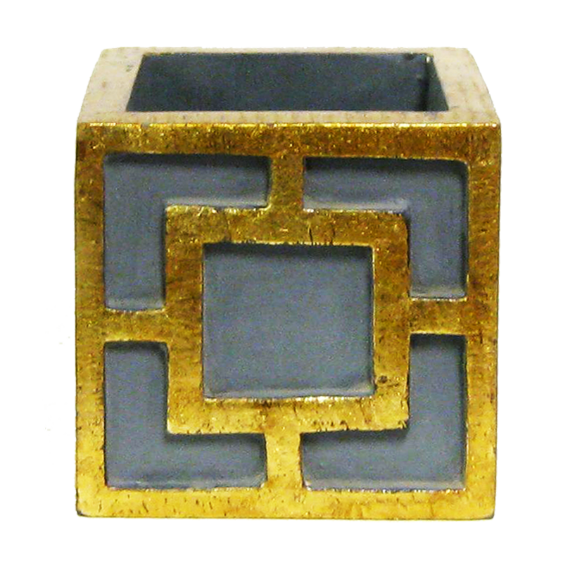 Wooden Mini Square Container w/ Square - Dark Blue Grey w/ Antique Gold