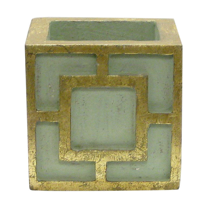 Wooden Mini Square Container w/ Square - Green w/ Antique Gold