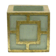 Load image into Gallery viewer, [WMSPQ-GG-ORGR2] Wooden Mini Square Container w/ Square Green & Antique Gold - White & Green Two Spike Orchid Artificial