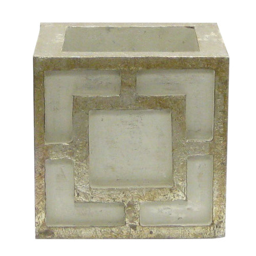Wooden Mini Square Container w/ Square - Grey w/ Antique Silver