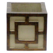 Load image into Gallery viewer, [WMSPQ-PD-OROG] Wooden Mini Square Container w/ Square - Patina Distressed w/Bronze - Orange Orchid Artificial