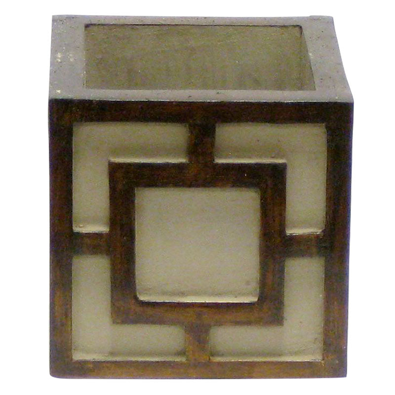 Wooden Mini Square Container w/ Square - Patina Distressed w/ Antique Bronze