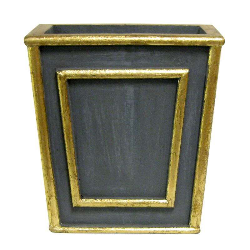 Wooden Narrow Flared Planter - Dark Blue Grey w/ Antique Gold