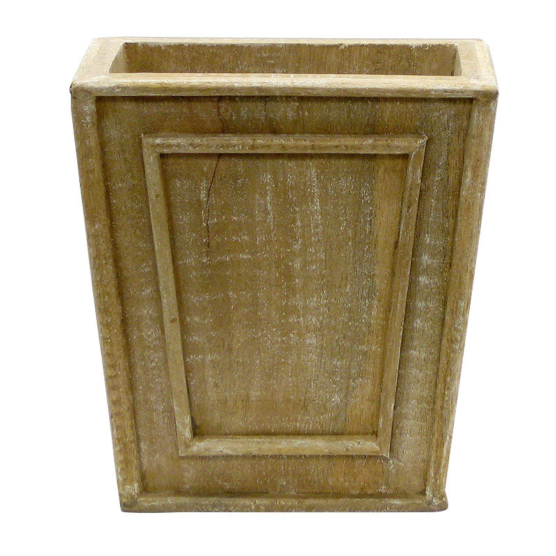 Wooden Narrow Flared Planter - Weathered Antique