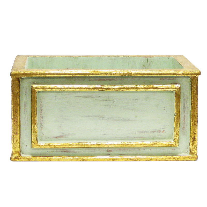 Wooden Rect. Planter - Gray Antique w/ Gold