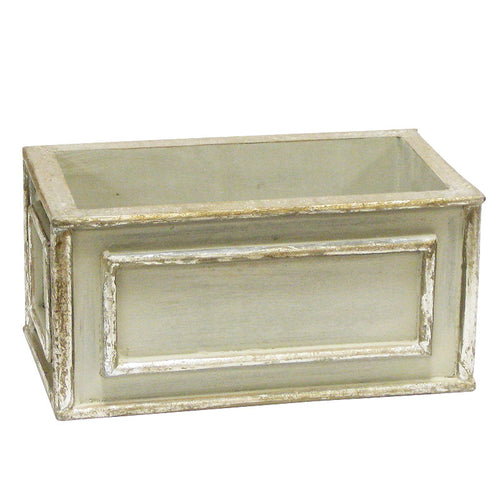 Wooden Rect. Planter - Antique Gray w/ Silver