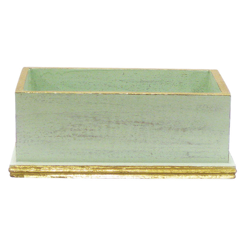 Wooden Rect Planter - Gray Green w/ Gold