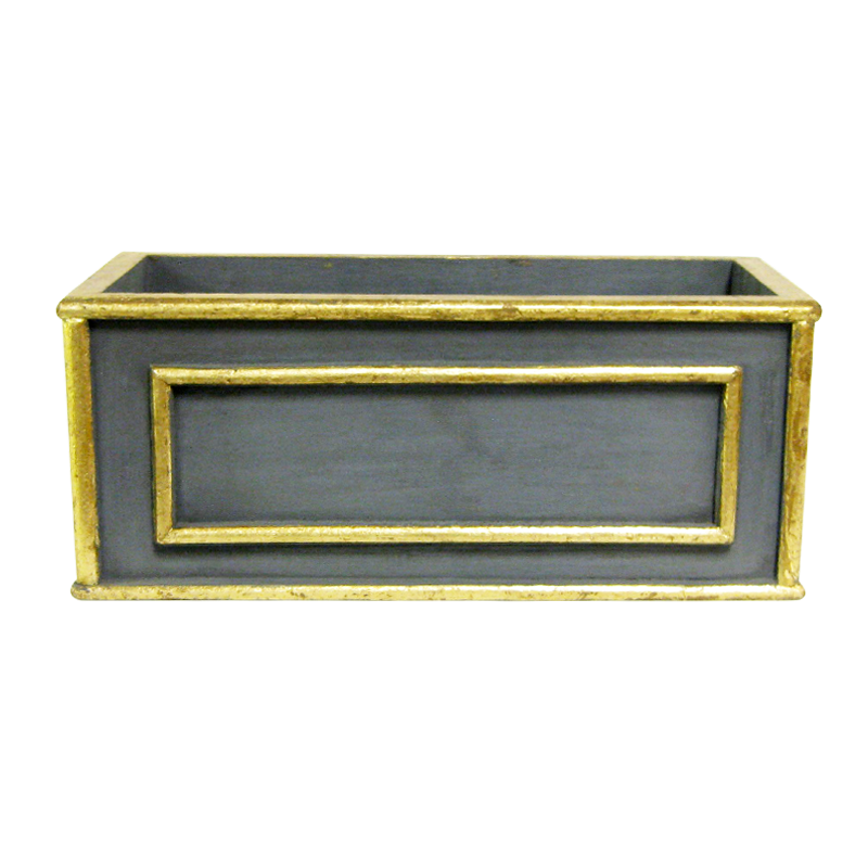 Wooden Rect Container Medium - Dark Blue Grey w/ Antique Gold