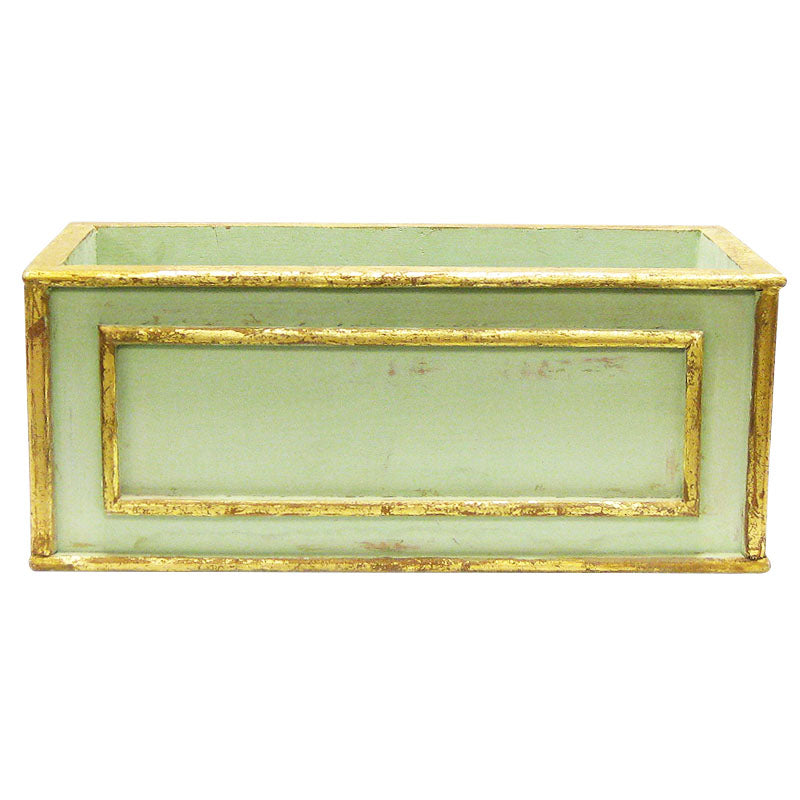 Wooden Rect Container Medium - Gray Green w/ Antique Gold
