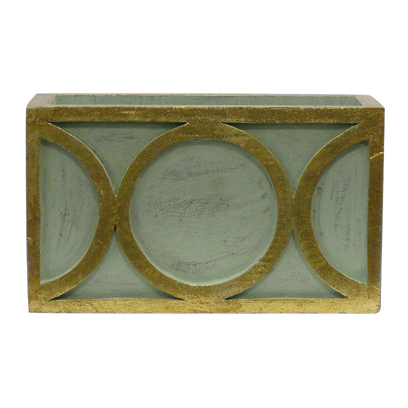 Wooden Rect. Container w/ Circle - Green w/ Antique Gold