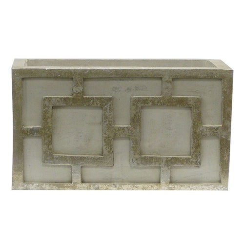 Wooden Rect. Container w/ Square - Grey w/ Antique Silver