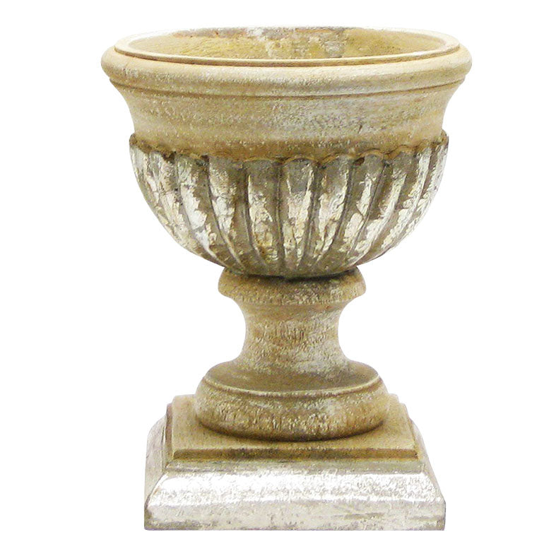 Wooden Ribbed Urn - Weathered Silver Antique