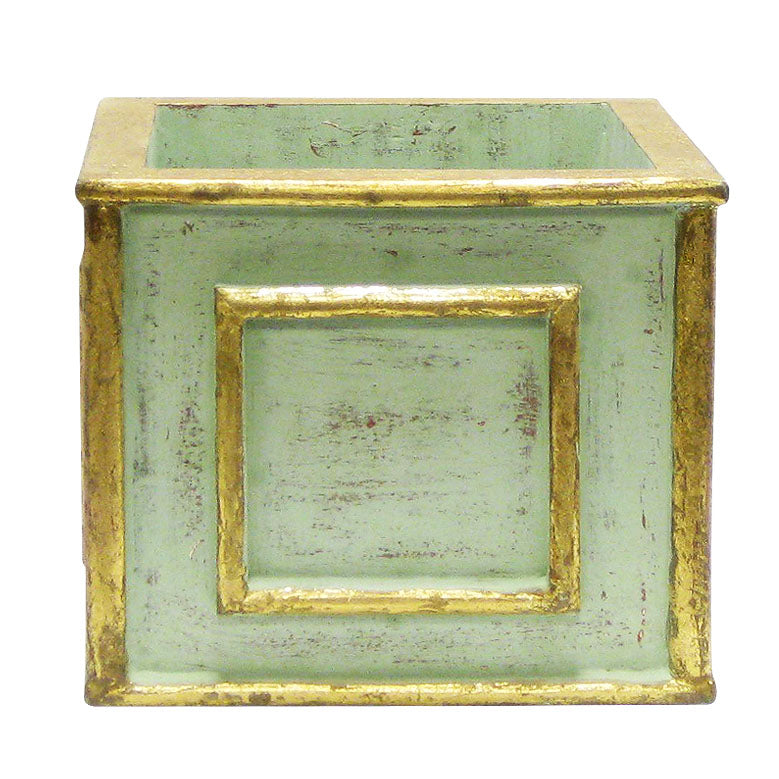 Wooden Square Planter - Gray Antique w/ Gold