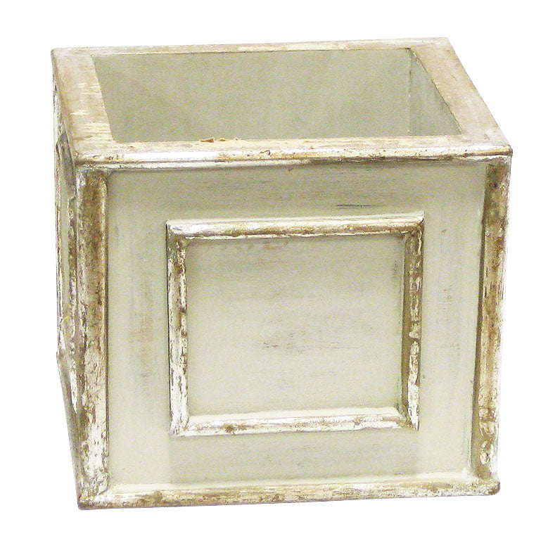 Wooden Square Planter - Antique Gray w/ Silver