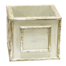 Load image into Gallery viewer, [WSP-GS-ORGRHDW] Wooden Square Container - Antique Gray w/ Silver - Orchid Artificial, Preserved Roses, Brunia, Mushrooms, & Hydrangea White