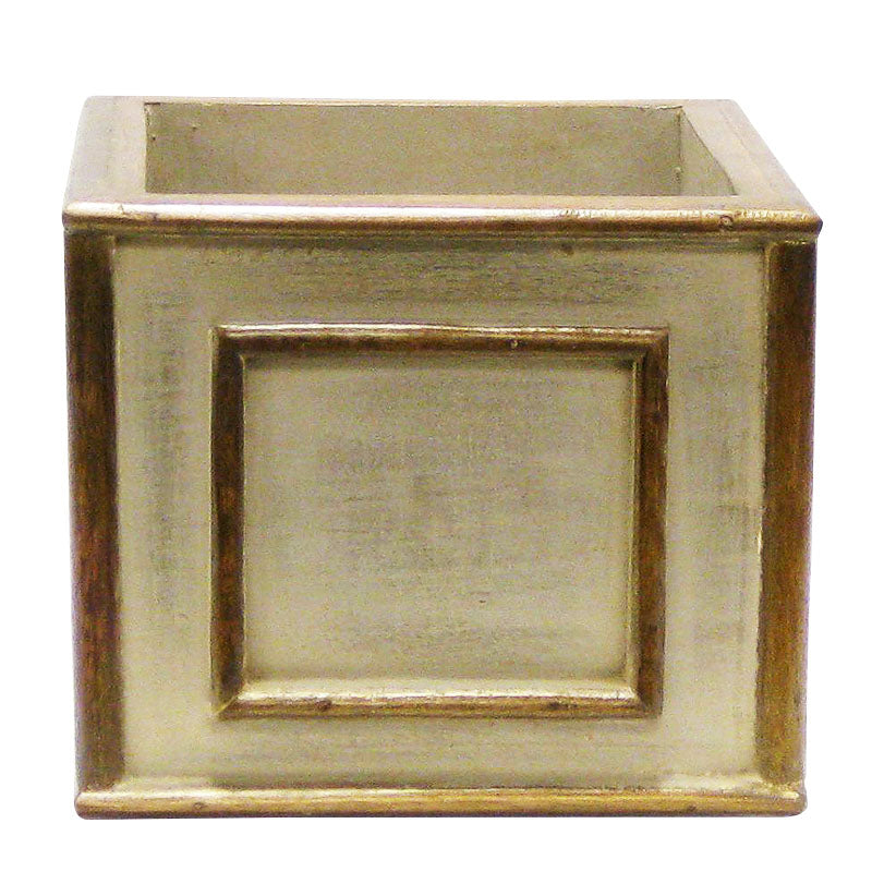 Wooden Square Planter - Patina Distressed w/ Bronze