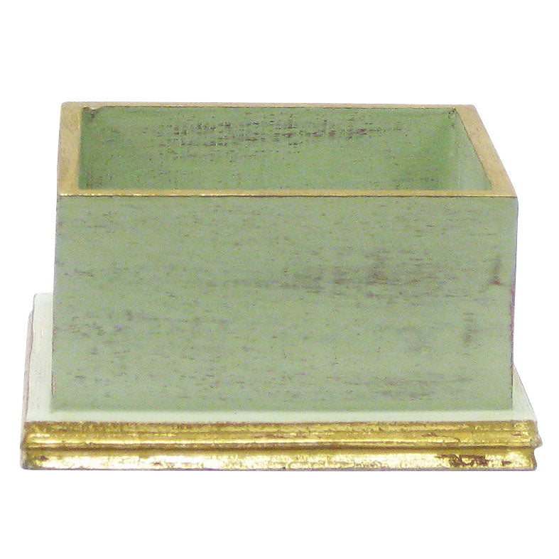 Wooden Square Planter - Gray Green w/ Gold