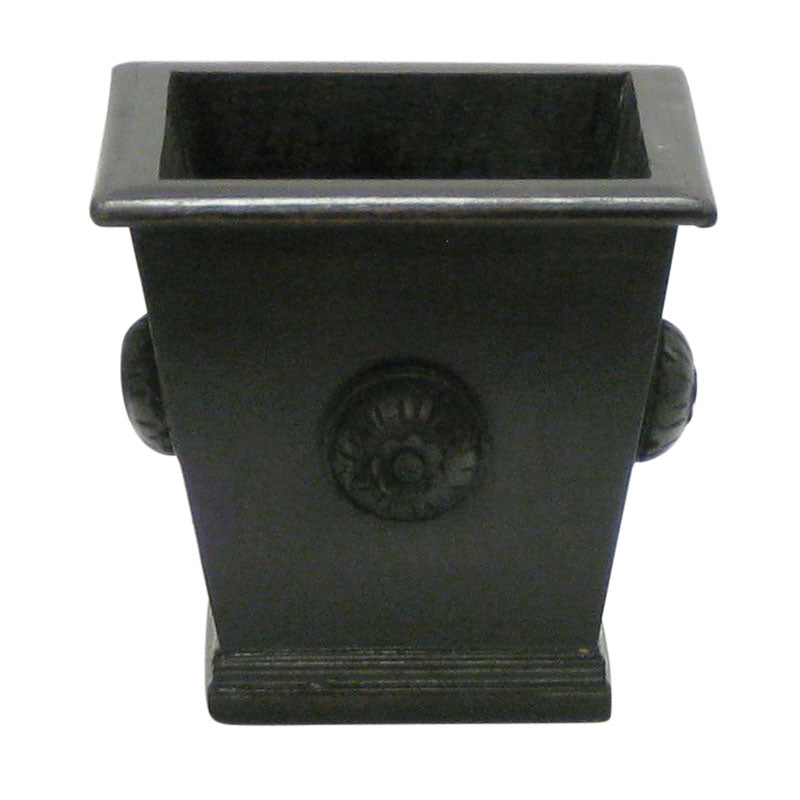 Wooden Square Planter w/ Medallion - Black Antique