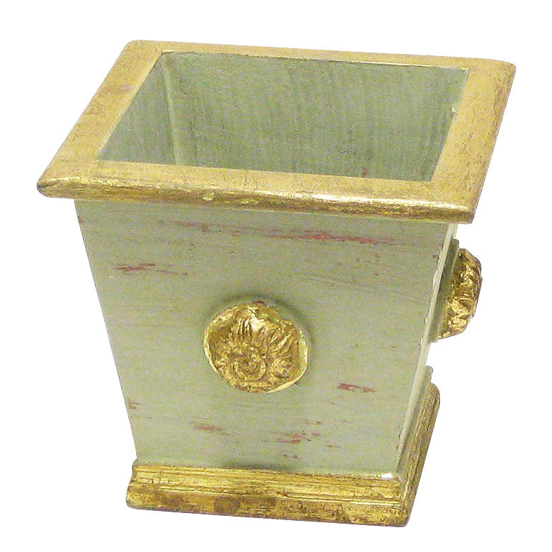 Wooden Square Planter w/ Medallion - Gray Green