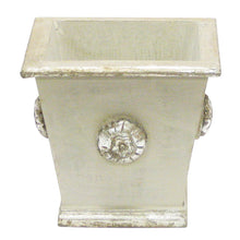 Load image into Gallery viewer, [WSPM-GS-ORYEDP] Wooden Square Container w/ Medallion Grey Silver - Double White & Yellow Orchid Artificial w/ Palm