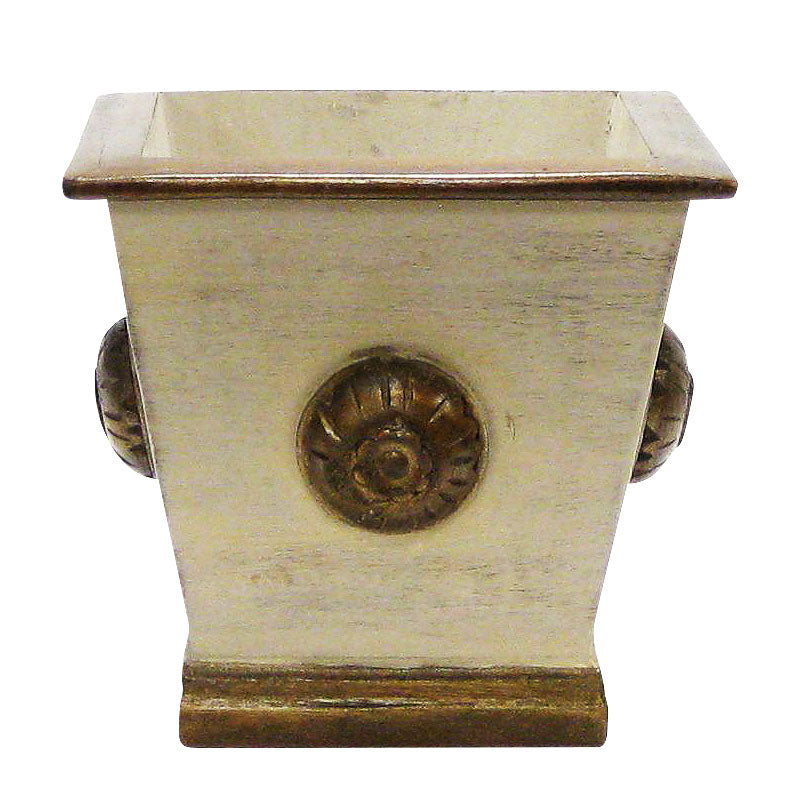 Wooden Square Planter w/ Medallion - Patina Distressed w/ Bronze