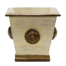 Load image into Gallery viewer, [WSPM-PD-ORYEDP] Wooden Square w/Medallion Container Patina Distressed w/Bronze - Double White & Yellow Orchid Artificial w/ Palm