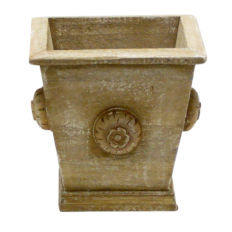 Wooden Square Planter w/ Medallion - Weathered Antique