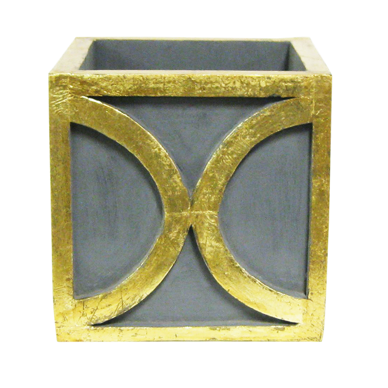 Wooden Square Container w/ Half Circle - Dark Blue Grey w/ Antique Gold