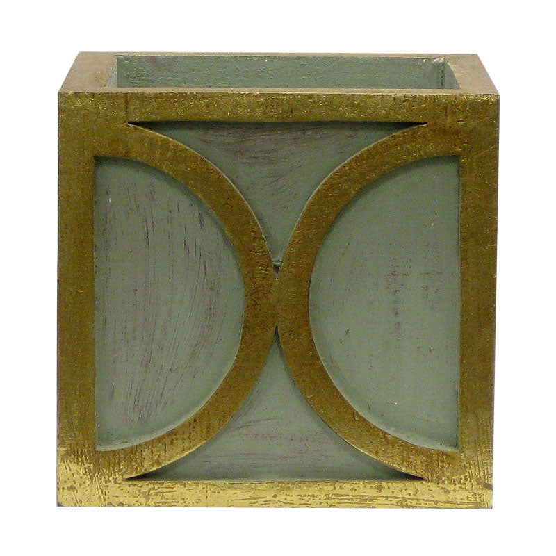 Wooden Square Container w/ Half Circle - Green w/ Antique Gold