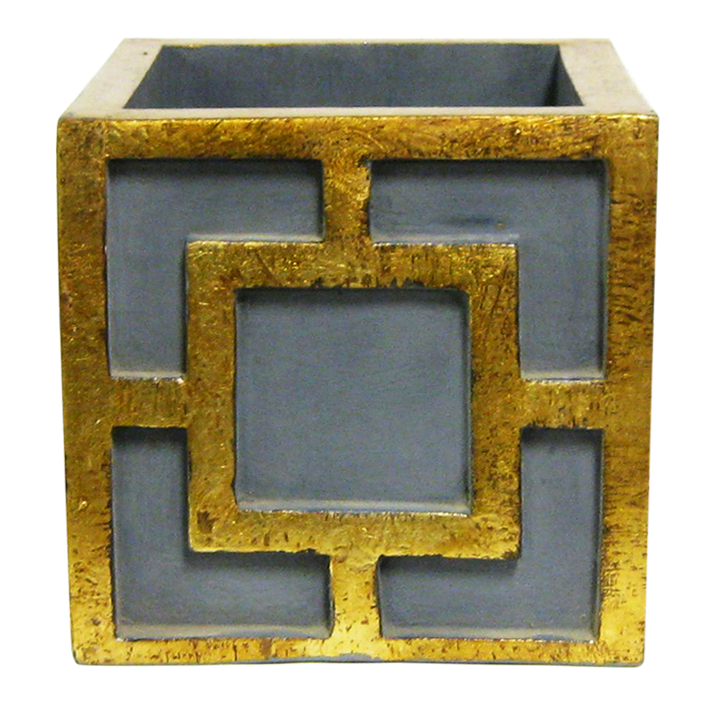 Wooden Square Container w/ Square - Dark Blue Grey w/ Antique Gold