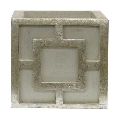 Wooden Square Container w/ Square - Grey w/ Antique Silver