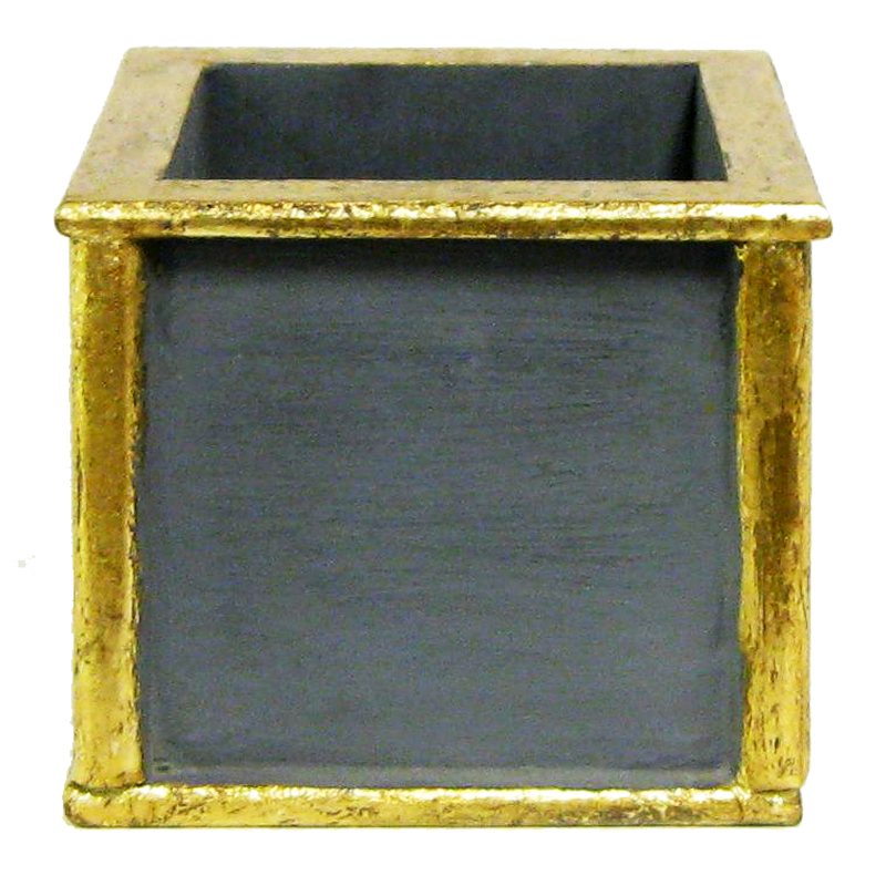 Wooden Square Container - Dark Blue Grey w/ Antique Gold
