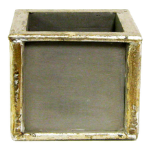 Load image into Gallery viewer, [WSPS-DS-ORYEDD] Wooden Square Container Dark Blue Gray Silver - Double Orchid White & Yellow
