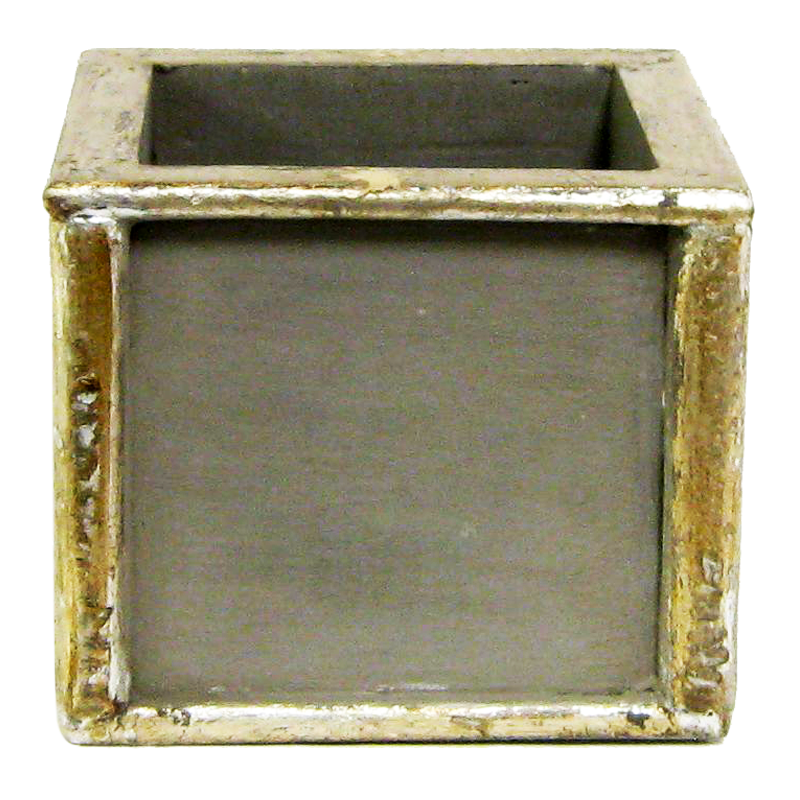 Wooden Square Container - Dark Grey w/ Antique Silver