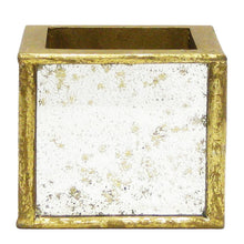 Load image into Gallery viewer, [WSPS-GAM-HLD19] Wooden Square Container Gold Antique Mirror - Banksia Gold & Hydrangea Red