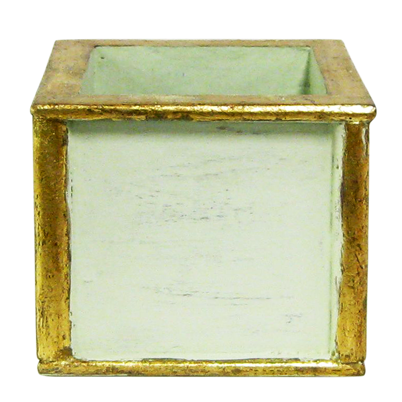 Wooden Square Container - Grey Green w/ Antique Gold