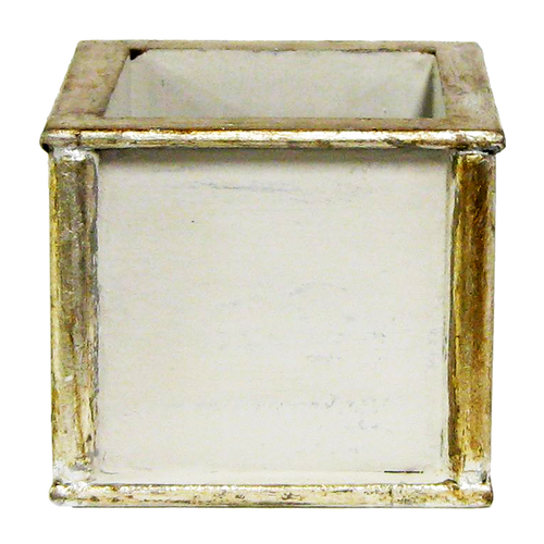 Wooden Square Container - Grey w/ Antique Silver