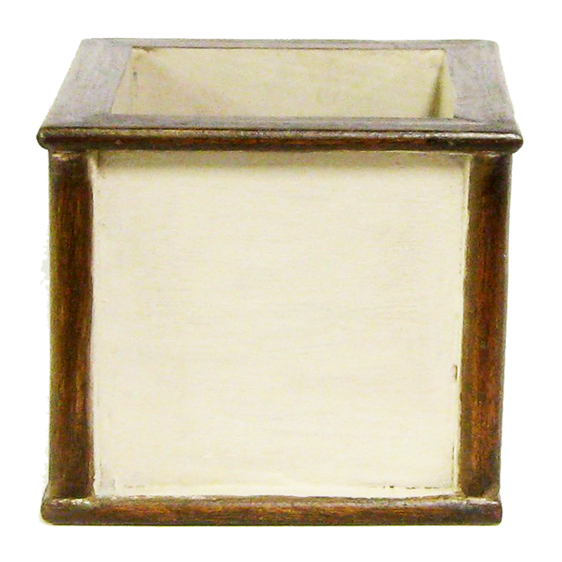 Wooden Square Container - Patina Distressed w/ Bronze
