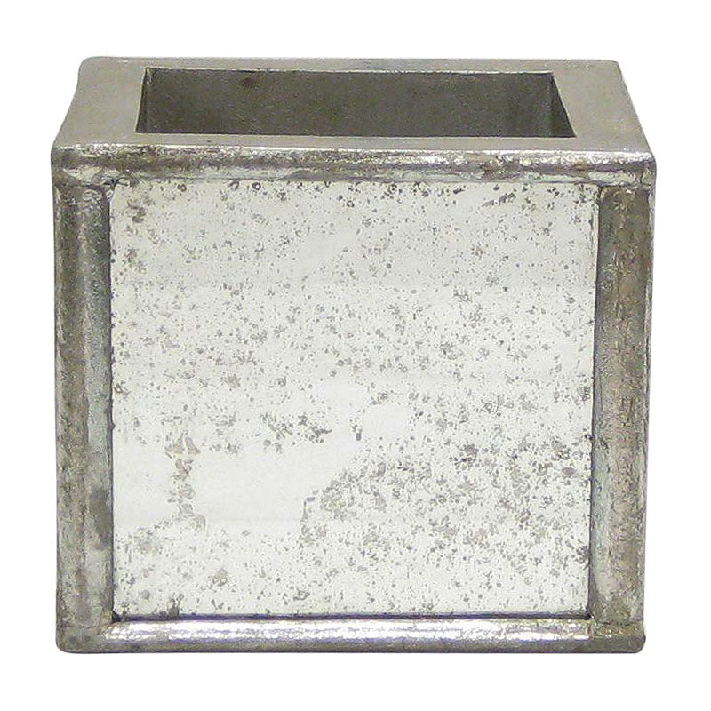Wooden Square Planter Small - Silver Antique w/ Antique Mirror
