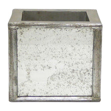 Load image into Gallery viewer, [WSPS-SAM-ORGR3] Wooden Square Planter Small - Silver Antique w/ Antique Mirror & Medallion - White & Green Orchid Artificial