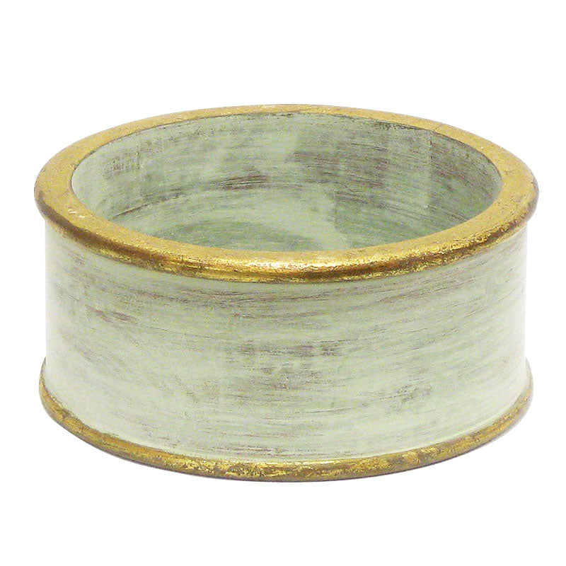 Wooden Short Round Container - Green w/ Gold