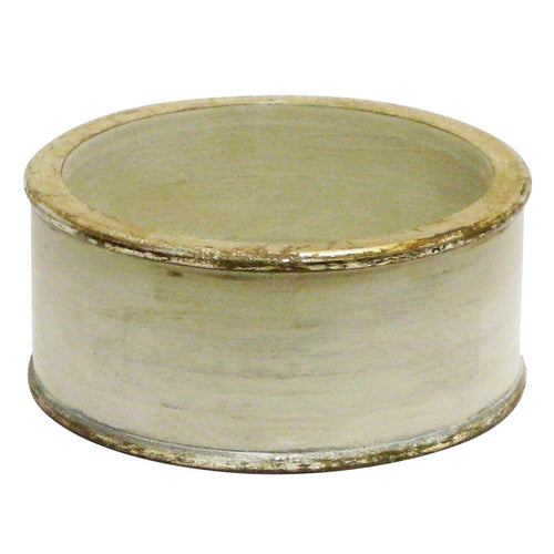 Wooden Short Round Container - Grey w/ Silver