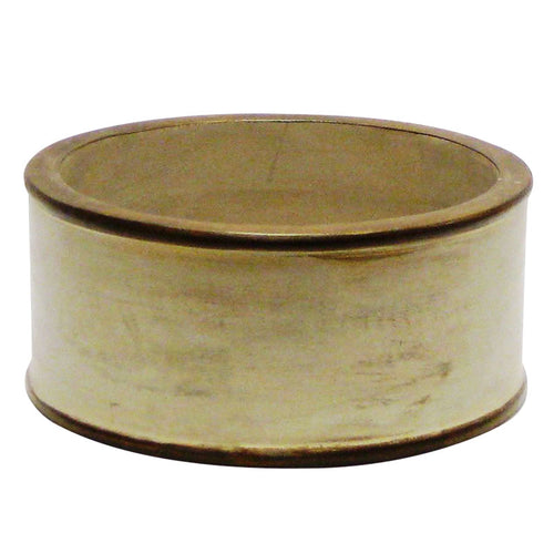 Wooden Short Round Container - Patina Distressed w/ Bronze